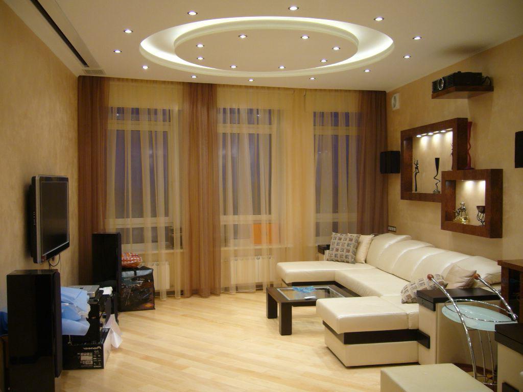 Потолок зал одна комната дизайн
